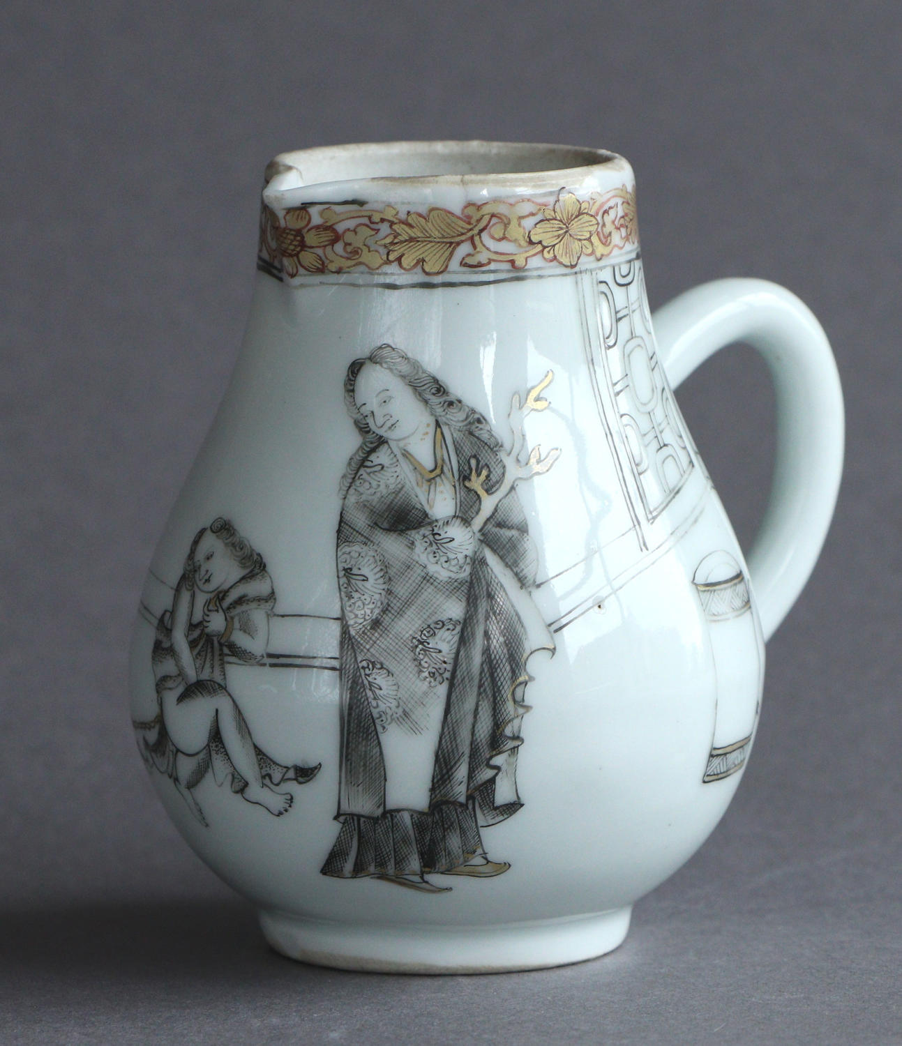 A Chinese export cream jug with grisaille European scene, Qianlong