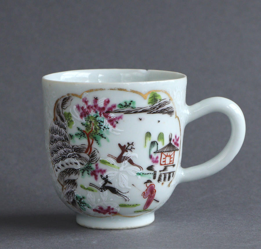 A London-decorated Chinese export 'Stag Hunt' coffee cup, Qianlong
