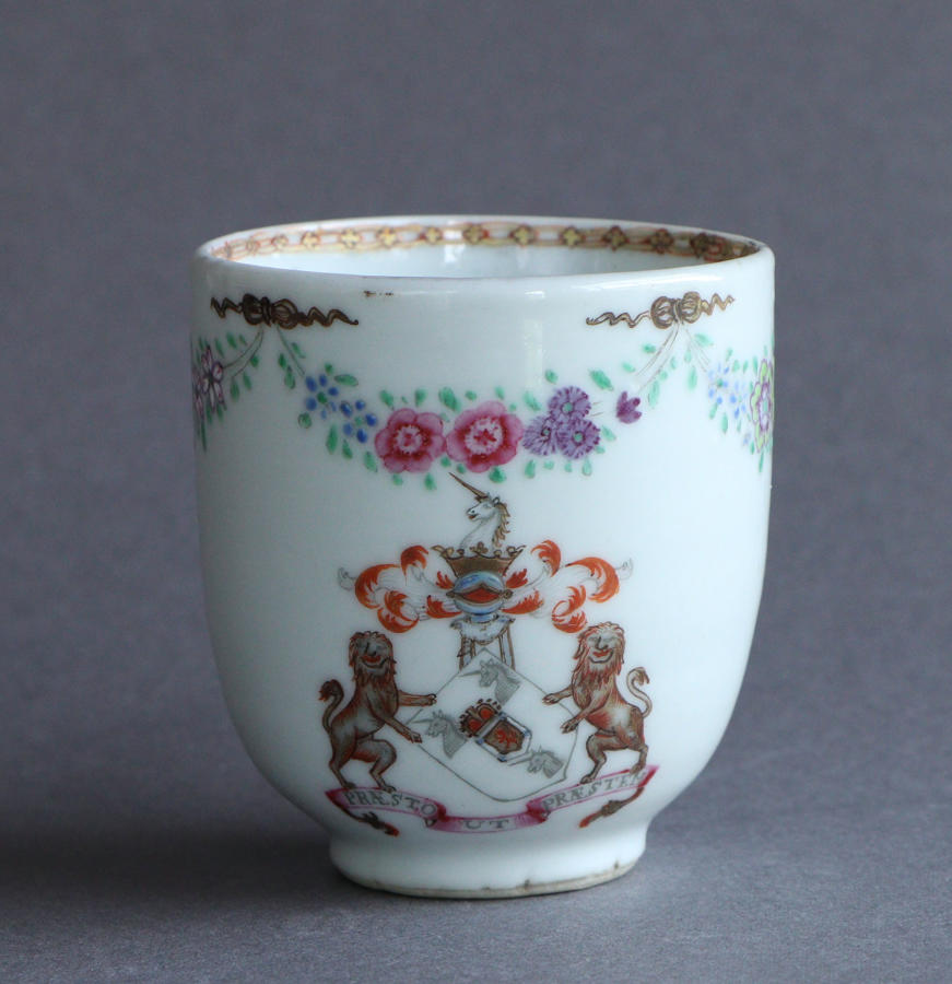A Chinese export armorial coffee cup, arms of Preston, Qianlong