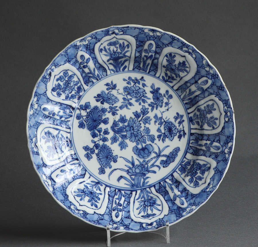 A good Chinese underglaze blue plate, Kangxi, with unusual mark