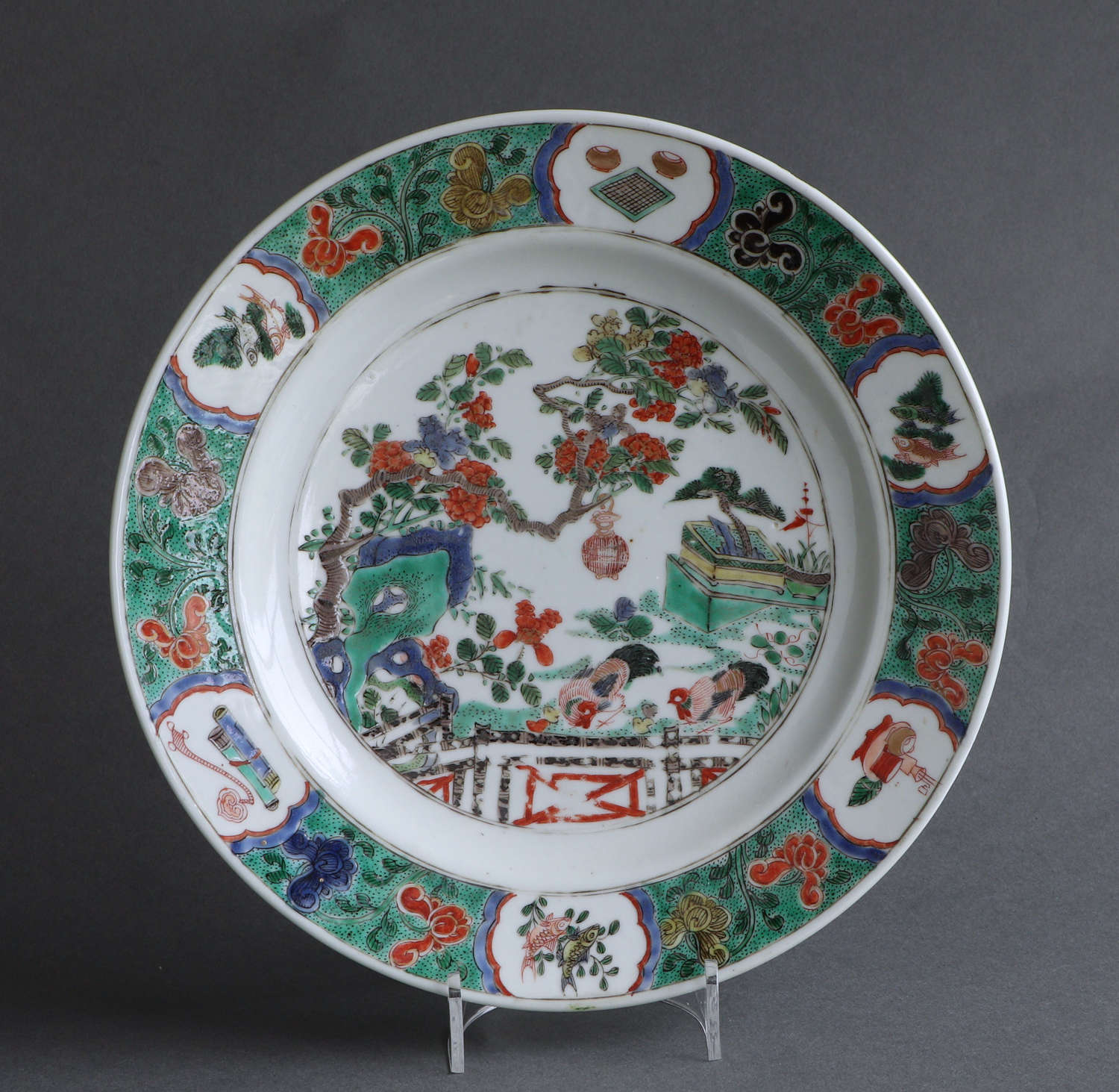 A good Chinese export famille verte plate, Kangxi (B)
