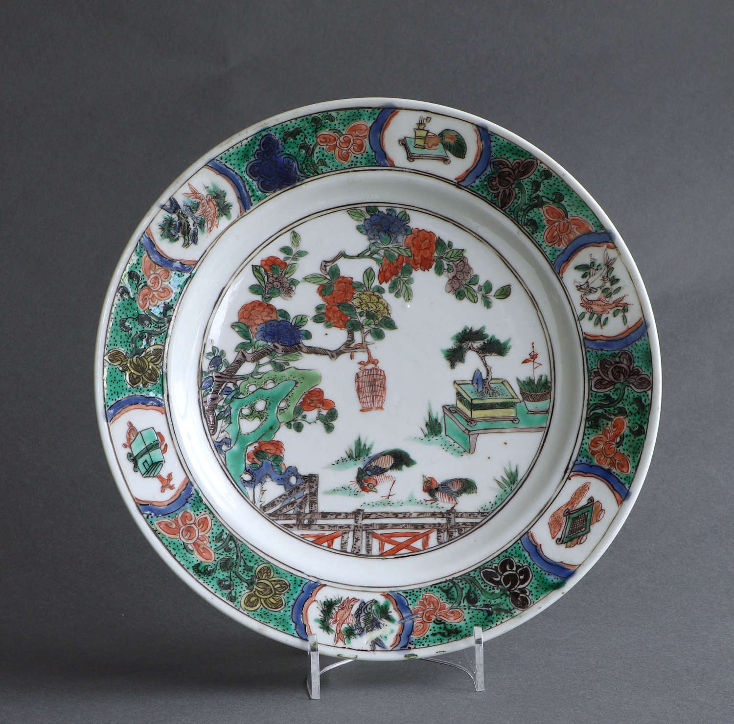 A good Chinese export famille verte plate, Kangxi (A)