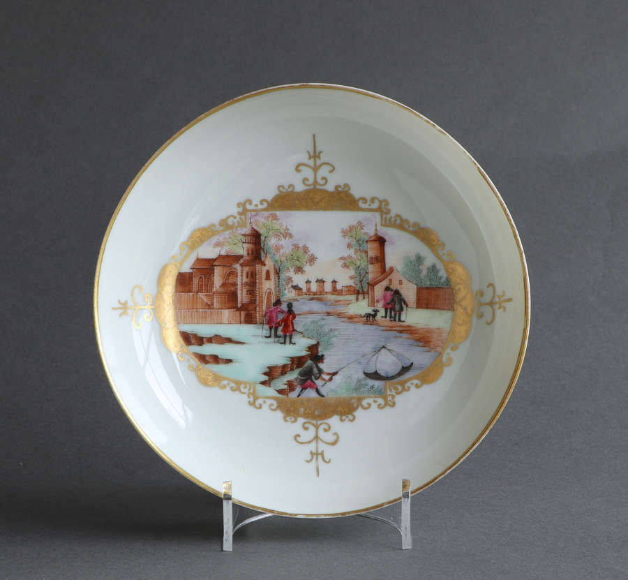 A good quality Chinese export saucer dish with European scene Qianlong