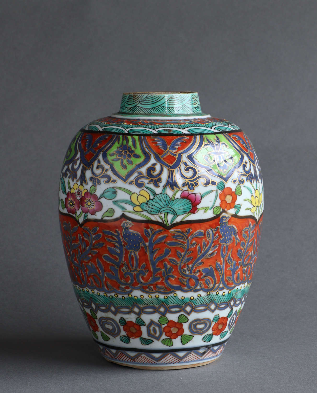 An Eighteenth Century Chinese jar with later enamel decoration