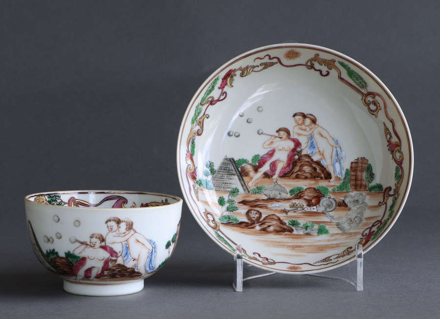 A rare Chinese export cup & saucer with European scene decoration