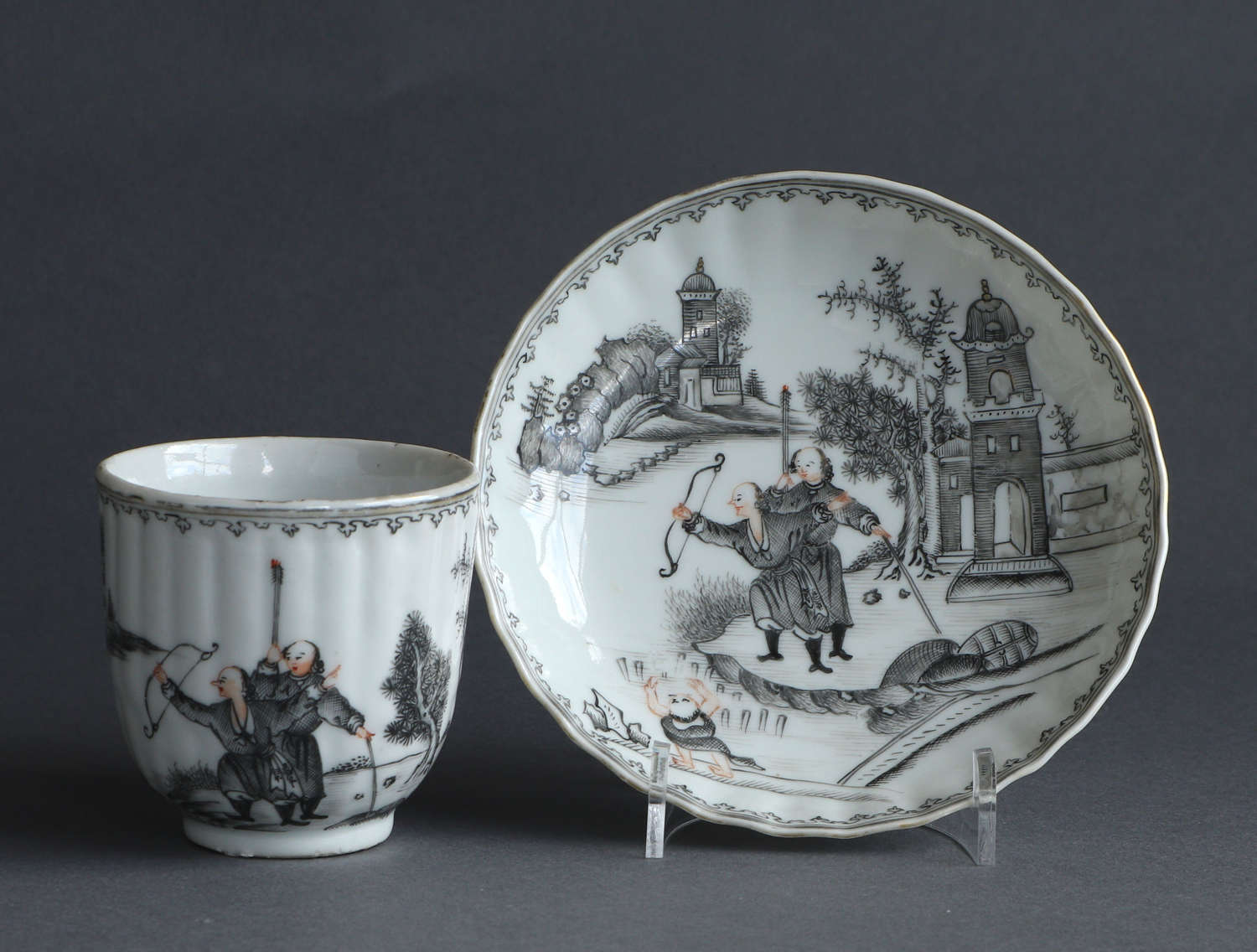 A good Chinese export grisaille coffee cup & saucer, Qianlong