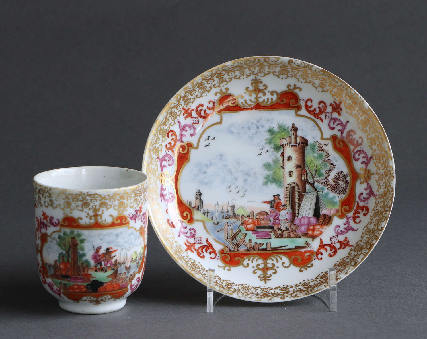 A good Chinese export coffee cup & saucer with Meissen style design