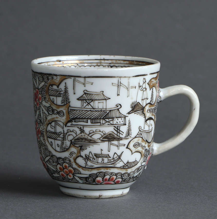 A rare London-decorated Chinese export coffee cup, Qianlong (A)