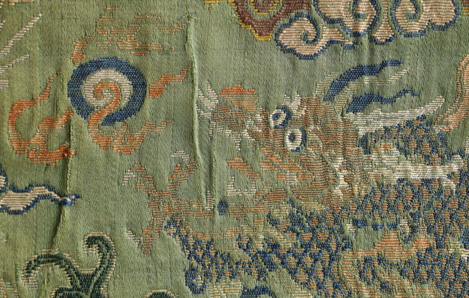 An 18th century Chinese silk brocade with dragons