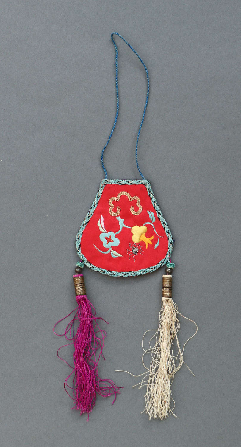 A small Chinese folk embroidery silk hanging or purse c1920