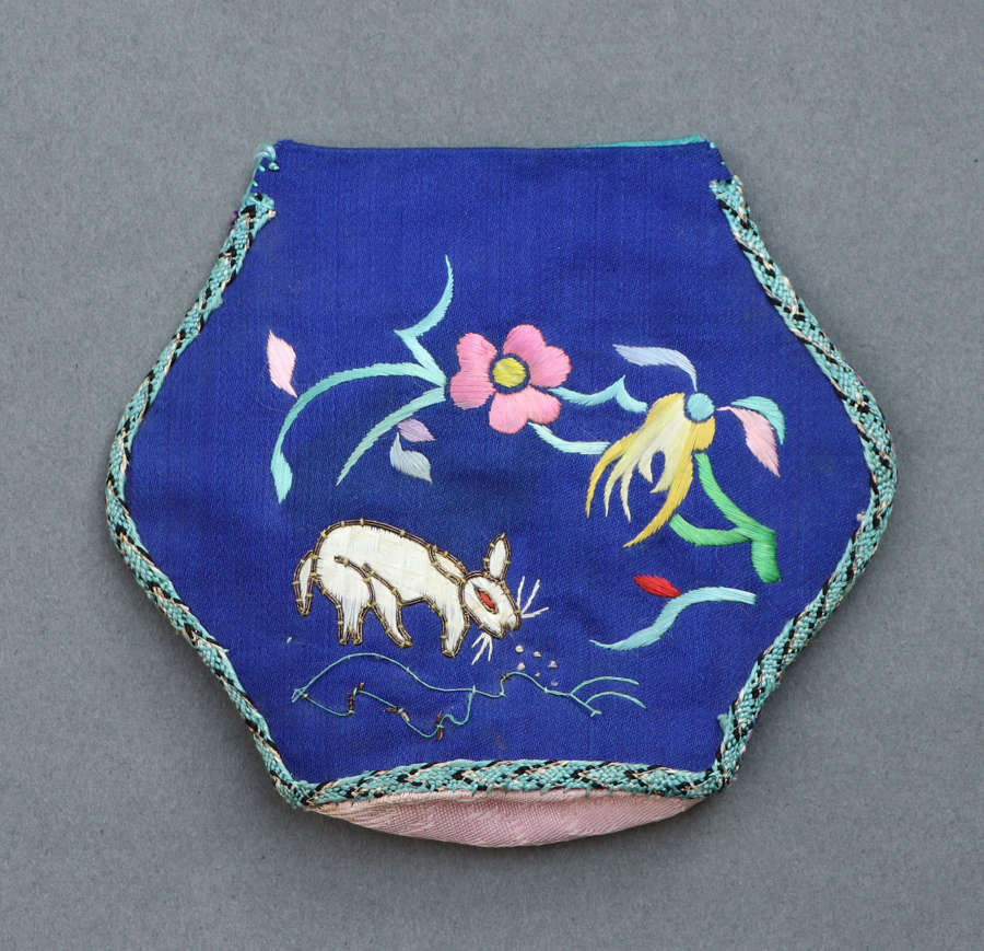 A small Chinese folk embroidery hexagonal purse c1920