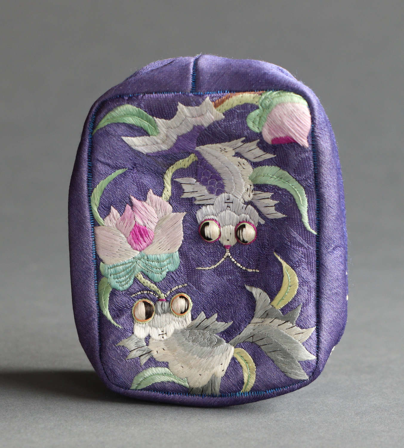 A Chinese embroidered silk small soft work box circa 1920