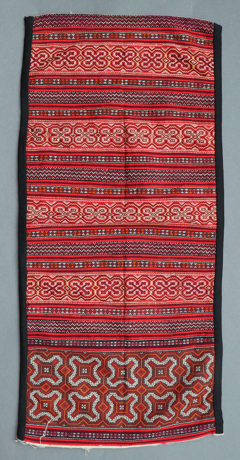 A Miao minority hand embroidered panel from Southern China
