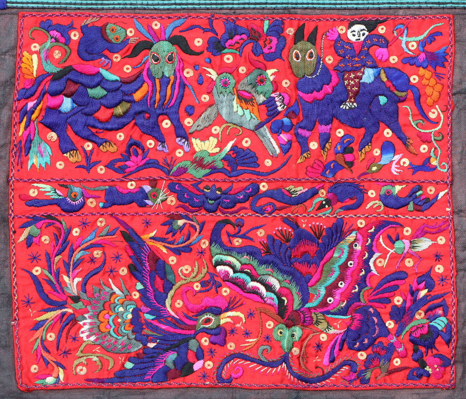 A pair of Miao minority embroidered panels from South China