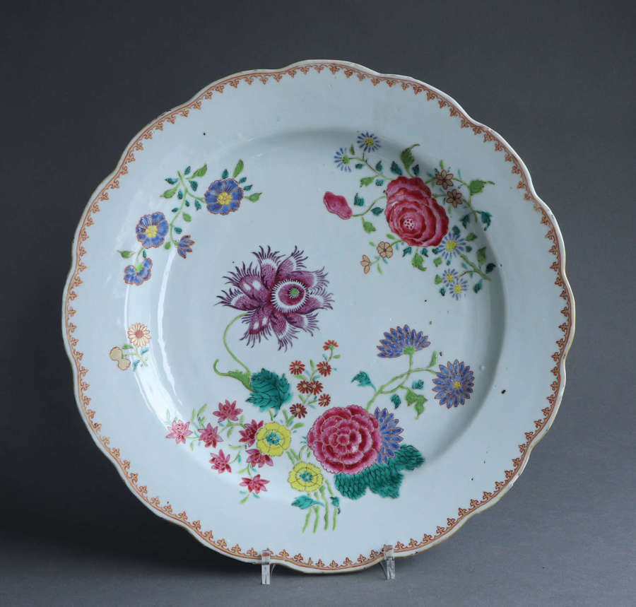 A large famille rose Chinese export plate, Qianlong