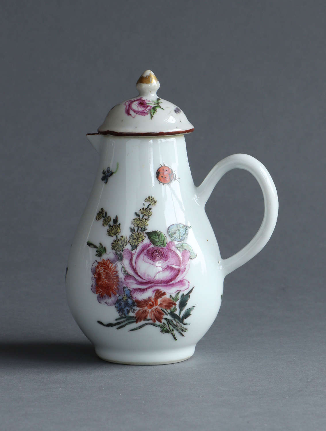 A London-decorated Chinese export cream jug and cover, Qianlong