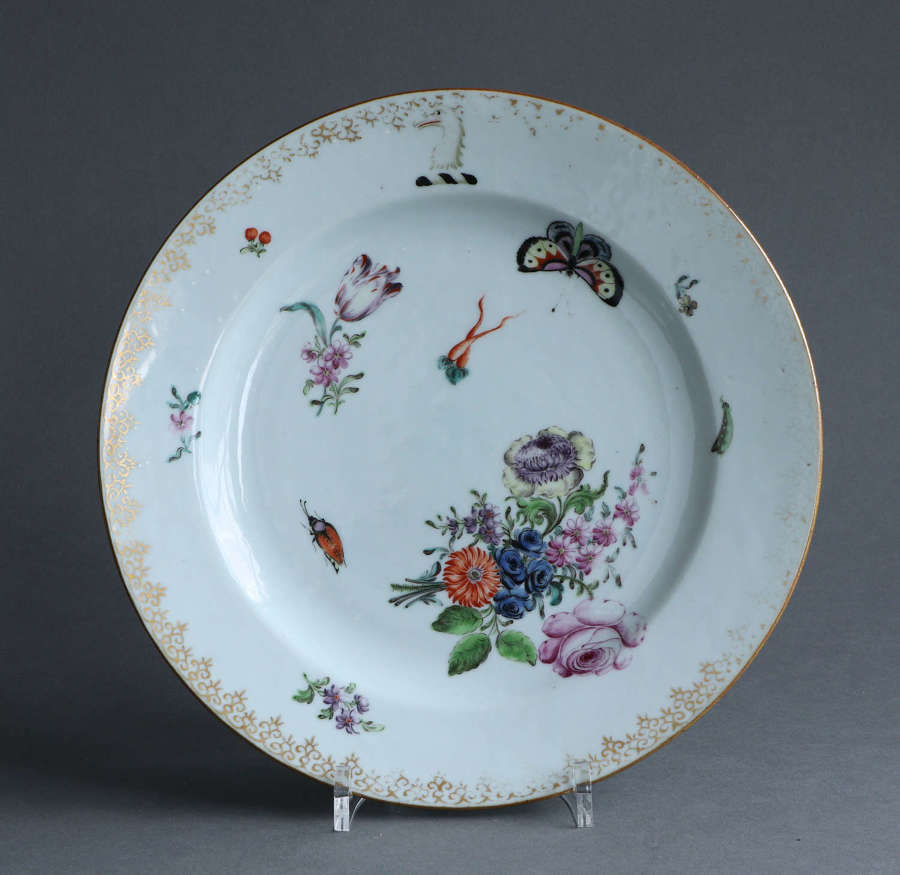 A London-decorated Chinese export Armorial plate, Qianlong