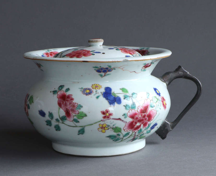 A Chinese export famille rose chamberpot and cover, Qianlong