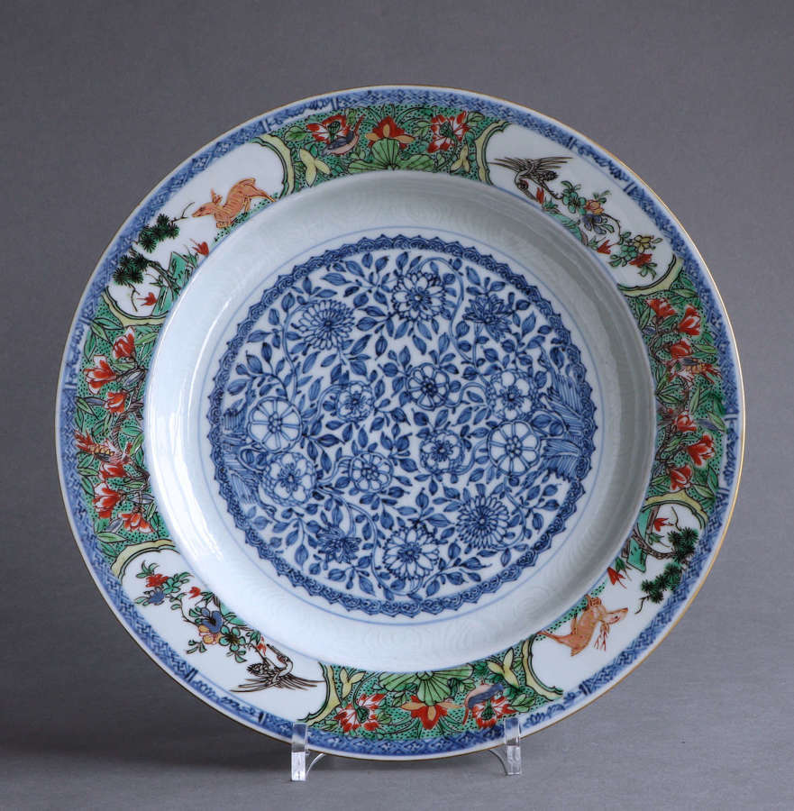 A good quality large Chinese famille verte plate, Kangxi (B)