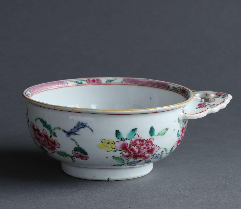 A rare Chinese export famille rose bleeding bowl or porringer Qianlong