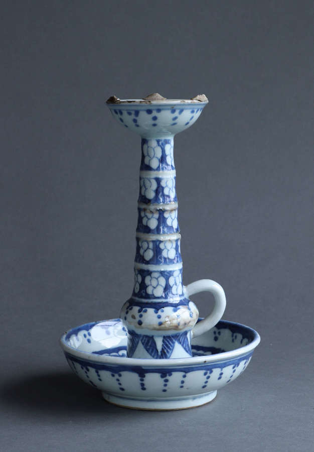 A Nineteenth Century Chinese export candlestick or taperstick.