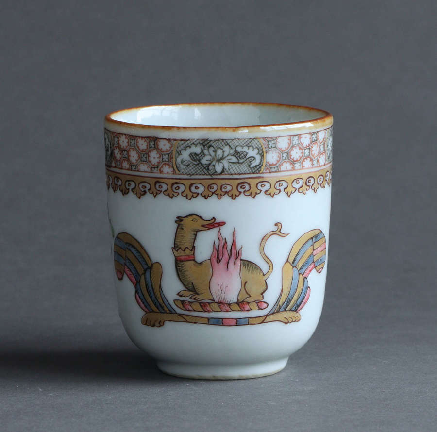 A Chinese export famille rose armorial coffee cup, Qianlong