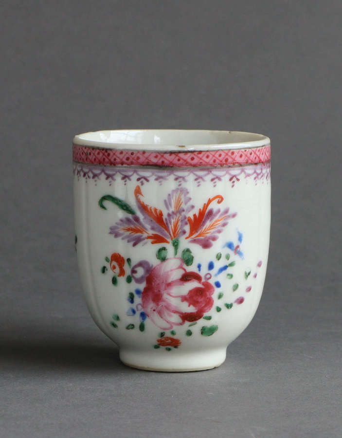 A Chinese export famille rose fluted coffee cup, Qianlong