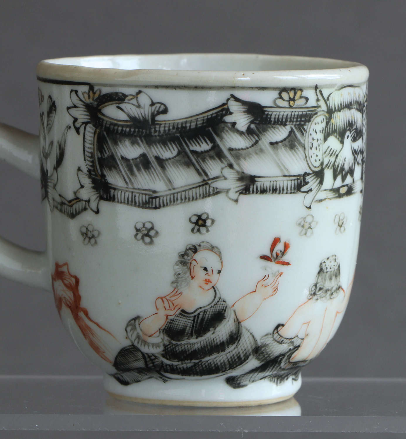 A Chinese export coffee cup with European or mythological scene c1750